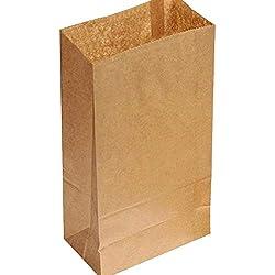 Westeng Lot de 100sacs alimentaires en papier Kraft marron sulfurisé pour nourriture, plats à emporter ou déchets alimentaires - Résistants à la graisse, marron, 18x9x5.5cm