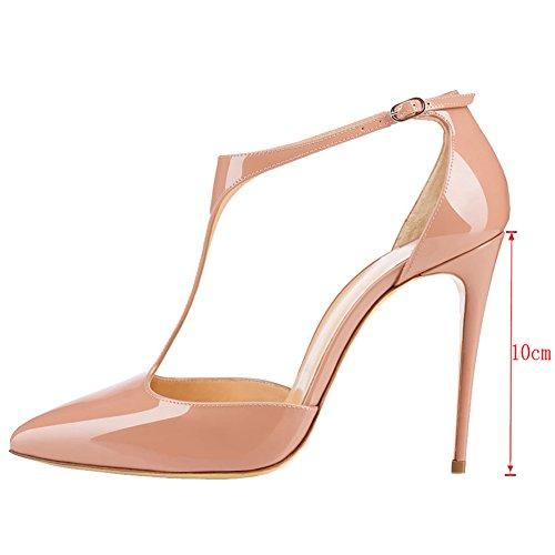 MERUMOTE Damen Y-191 Spitze Pumps Stilettos High Heels T-Strap mit Schnalle Lack Damenschuhe Nackt 4Z9BsV
