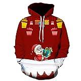 Sannysis Unisex Slim Fit Hoodie Weihnachten 3D Druck Hoodies Kapuzenpullover Langarm Galaxy Bunte Pullover Kapuzenpulli Sweatshirt M-3XL {Frohe Weihnachten}