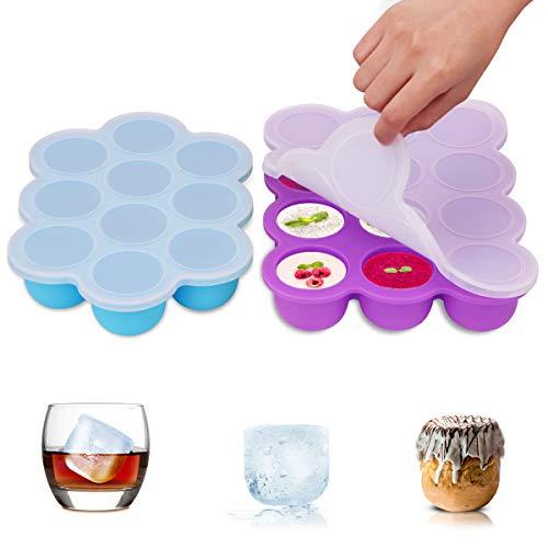 Lebensmittel Speicher Gefrierschrank Behälter 2 Sätze gefrieren alle Arten Säuglingsnahrung, Muttermilch, Kräuter,Soßen,Whisky,Eiswürfel Spülmaschinenfest ohne BPA auslaufsicher ()