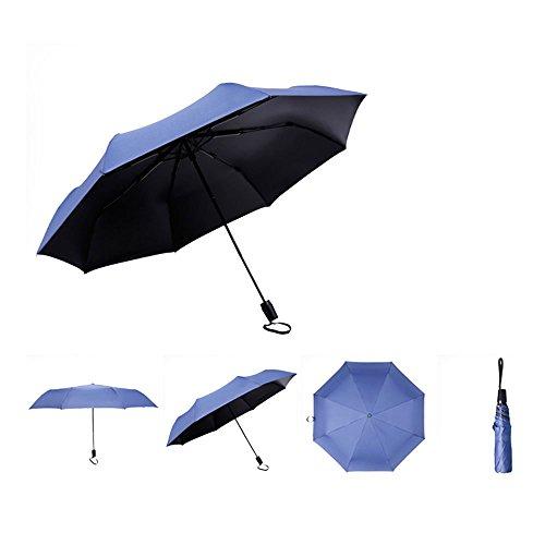 saibang Elegante Auto Open Close zusammenklappbar Damen Regenschirm Rain & Sun UV-Schutz, stark winddicht–stabil, tragbar und leicht für Business & Travel–lebenslange Garantie, dunkelblau