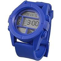 Einstellbare Band 8 Löcher Stoppuhr Wecker Runde Fall Stoppuhr Uhr-Blau für Mann