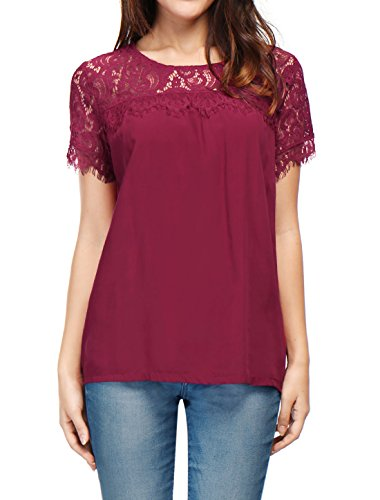 S (US 6) , Red : Allegra K Women's Round Neck Lace Panel Short Sleeves Loose Top