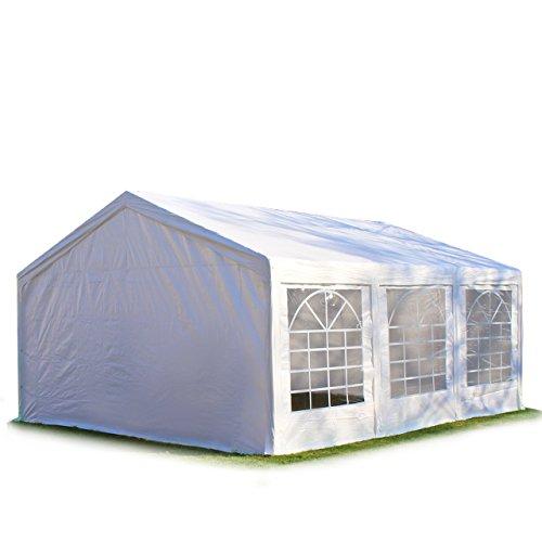 Hochwertiges Partyzelt 4x6 6x4 m Pavillon Zelt 240g/m² PE Plane Gartenzelt Festzelt Bierzelt ! Stahlkonstruktion ! Wasserdicht! Inkl. Seitenteile + Giebelteile ! weiß