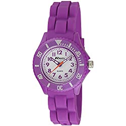 Ravel Children's Easy Read Quartz Watch with White Dial Analogue Display and Purple Silicone Strap R1802.7