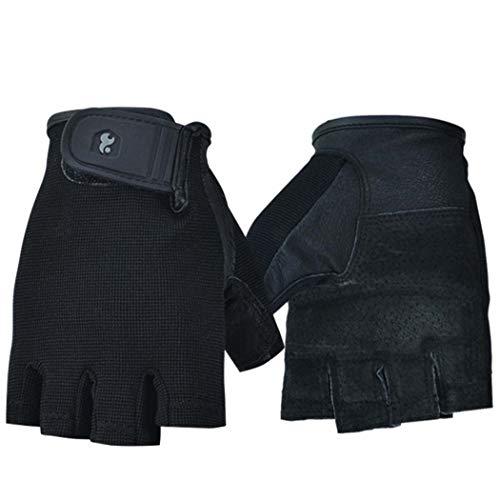 MISS&YG Fitness Halb-Finger-Handschuhe Hantelausrüstung Sport Rutschfest tragen Gewichtheben atmungsaktive Halb-Finger-Handschuhe,Black,L