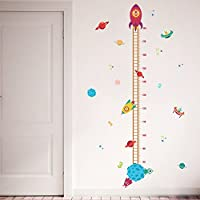 Zooarts Wall Decor Removable Mural Wall Sticker Decals Spaceship Rocket Growth Height Chart