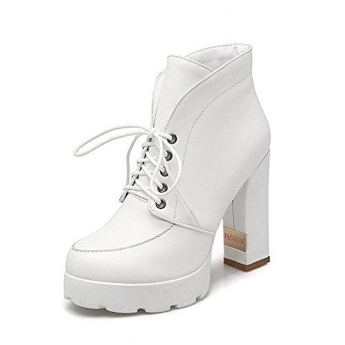 VogueZone009 Damen Hoher Absatz Weiches Material Rein Schnüren Stiefel mit Metalldekoration, Weiß, 43