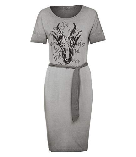 SOCCX Damen Gefärbtes T-Shirt-Kleid mit Artwork - Gefärbtes T-shirt