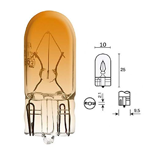 AMPOULE 12V 5W T10 W2.1x9.5D ORANGE WEDGE VERRE VOITURE CLIGNOTANT LAMPE PHARE AVANT ARRIERE