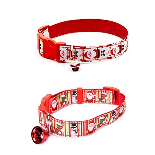 Opplei Katzenhalsband Verstellbare Kunststoff Leder Halsbänder Welpenhalsband Hundehalsband für Kleine Hund Katzen Katze Weihnachtsdekor