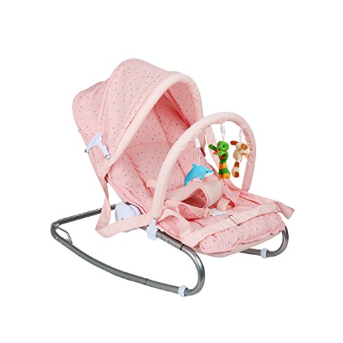 Fascol Baby Bouncer Chair Infant Rocking Chair for Newborn to 6 Months Baby Maximum load 7 kg, Pink 41MtAyMH 9L