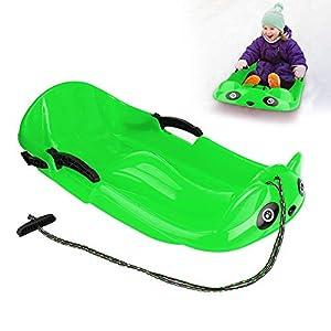 XYLUCKY Bob-Schlitten, Panda-Form Steering Schlitten, Snowbob Skibob für Kinder, Kinder Kunststoff Schlitten mit Lang Kordelzug, 2 Griffe Stabilität und Bremsschutz