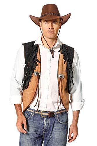 Kostüm Cowboy Fransen - Cowboy-Weste Herren braun schwarz mit Fransen Herrenkostüm Wilder Westen Karneval Fasching Hochwertige Verkleidung Größe 48 Schwarz/Beige