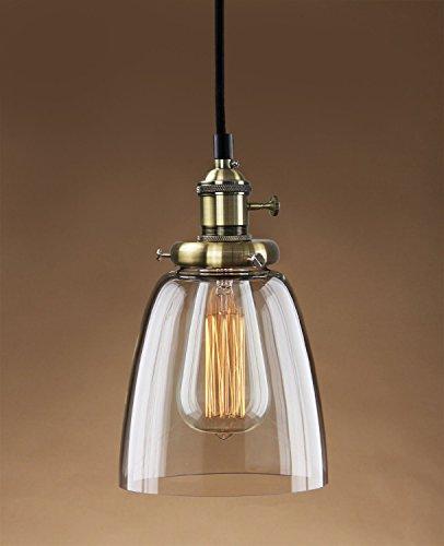 PureLume® Vintage Suspension Hanging AGED croche avec laiton vieilli rendelscha lter Culot de lampe avec ampoule Vintage 40 W
