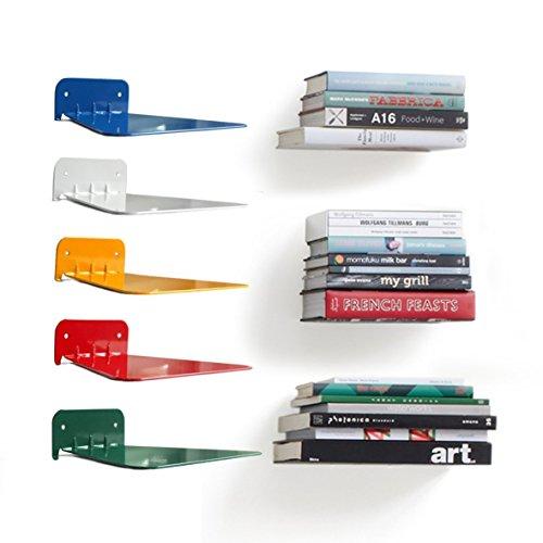 Set di 2 mensole per libri nascoste in metallo invisibile. red