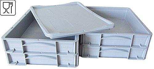 4x Pizzaballenbox + 1 Auflagedeckel, Pizzaballenbehälter, Pizzateigbehälter, 400 X 300 X 70mm