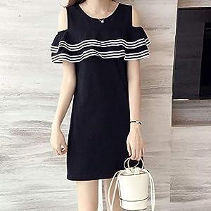 ClookYuan Charming-Sommer-Frauen Weg vom Schulter-Kleid Schöner weiblichen Damen Lotus Sleeve Beach Wear O-Ansatz-Kleid…