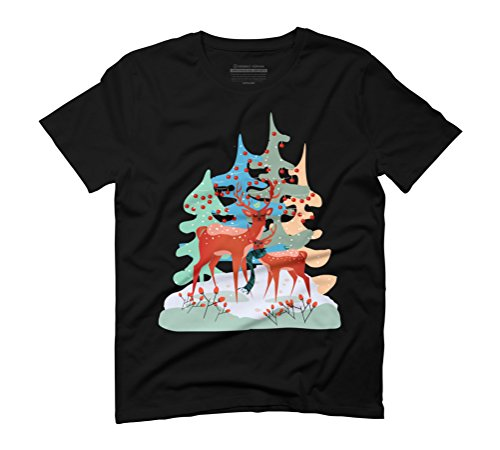 Winter Forest Deers Men's Graphic T-Shirt - Design By Humans Black