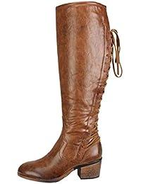 es Zapatos Botas Marrones Amazon Altas Para Mujer SwzxOUF