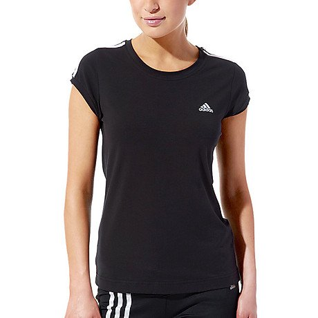 adidas Damen T-Shirt Essentials 3-Stripes, black/white, 34 (Jersey T-shirt Spandex)