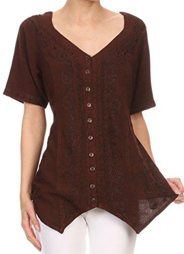 Sakkas Klaniya V Neck Button Down brodé à manches courtes Lumière Blouse Shirt Top Chocolat