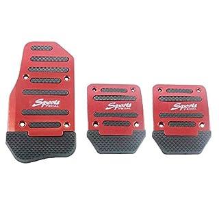Rutschfeste Sport-Pedalkappen aus Aluminium-Legierung für Automatik- oder Fahrzeuge mit manuellem Schaltgetrieben, Pedalabdeckungen (rot)