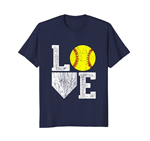 Love Softball Distressed T Shirt for Players Moms & Dads Navy Male XL