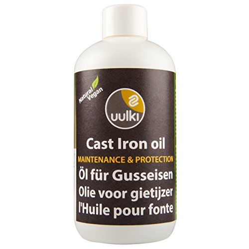 Uulki Natural Cast Iron Oil & Conditioner (250 ml / 8.4oz) for Maintenance Seasoning & Prevention of Rust - 100% Plant-based / Vegan Made in Europe - For Cast Iron Cookware & Dutch Ovens