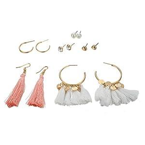 ZYUEER Frauen Böhmischen Einfache Quaste Love Pearl Kombination Set Ohrringe Von 6 Schmuck