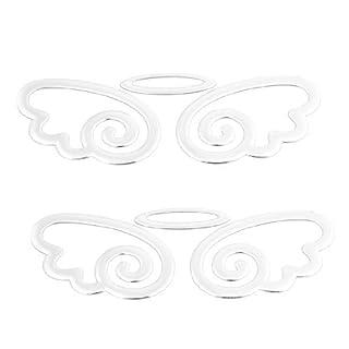 DealMux 2pcs tom de prata plástico asa do anjo Forma emblema Etiqueta 3D para carro
