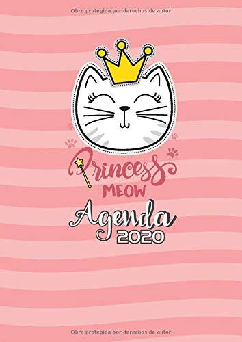 Agenda  2020 Princess meow: Tema Gatos Agenda Mensual y Semanal + Organizador I Enero a Diciembre  2020 A4