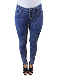 Celeb Look High Waisted 5 Button Acid Wash Skinny Jeans