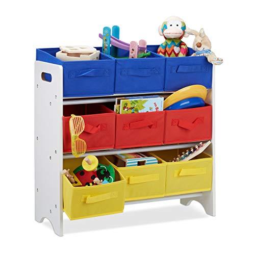 Relaxdays Kinderregal mit Boxen, 9 Faltbare Körbe mit Henkeln, Metallrohre, Spielzeug, MDF, HxBxT: 62x63x28cm, weiß/bunt