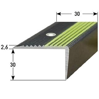 Stair Nosing Profile 20 m (20 x 1 m) 30 x 30 mm Aluminium, Special Enamel, Phosphorescent Fluting, Drilled, Dark Grey