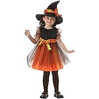 Logobeing Niños Pequeños Bebéss Niñas de Halloween Ropa de Disfraces Vestidos de Fiesta + Vestido de Sombrero 2-15 Años (Amarillo, 6-7Años)