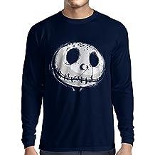 Camiseta de Manga Larga para Hombre cráneo asustadizo Cara - Pesadilla - Ropa de Fiesta de Halloween