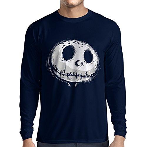 Langarm Herren t shirts beängstigend Schädel Gesicht - Alptraum - Halloween-Party-Kleidung (XX-Large Blau Mehrfarben) (Sehr Beängstigend Clowns)