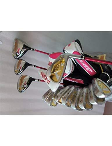 HDPP Golfschläger 3 Sterne Golf Komplettset Damen Golfschläger Driver + Fairway Holz + Eisen + Putter Graphitschaft Mit -