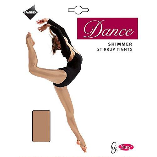 Silky Mädchen Tanz Strumpfhose Fersen und Zehen Öffnung, Schimmer (1 Stück) (5-7 Jahre) (Toast)