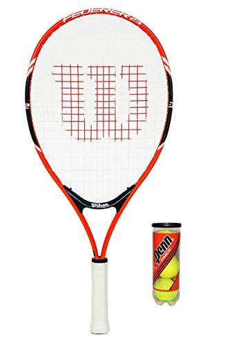 Wilson M D Trading Racchetta da Tennis Federer Junior 19,21,23,25,26(66cm Singolo + 3Palline)
