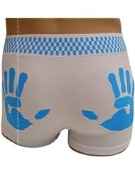 Boxer Homme, Blanc et Bleu, imprimé de mains sur les fesses