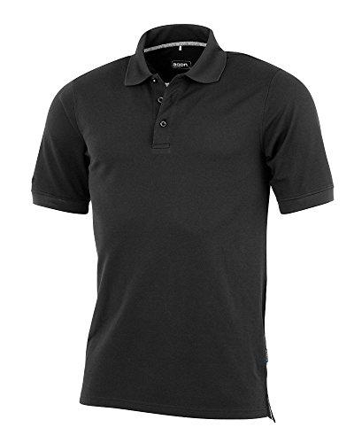 agon - Premium Herren Pique Polo-Shirt, bügelfrei, Coolmax, Coldblack, UV-Schutz, Geruchsblocker, atmungsaktiv, Kurzarm Tiefschwarz 54/XL