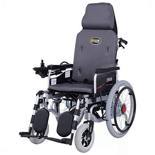 LUO Silla de Ruedas Eléctrica, Respaldo Alto, Reclinable Completo, Plegable Ligero, Silla de Ruedas para Discapacitados para Adultos,Gris,Un tamaño