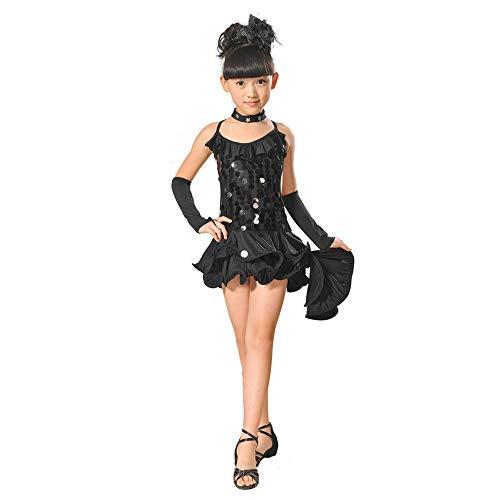 Vier Mädchen Kostüm Jahreszeiten - Lonshell Teenager Mädchen Tanzkleid 4-teiliges Set Tanz Kostüm mit Leggings Halskette Kopfschmuck 2-13 Jahre Kinder Performance Verschleiß für Lateinisches Salsa Tango Rumba