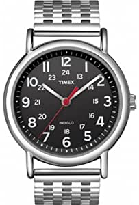 Timex Unisex Weekender Central Watch T2N655Pf with Black Dial and Stainless Steel Bracelet