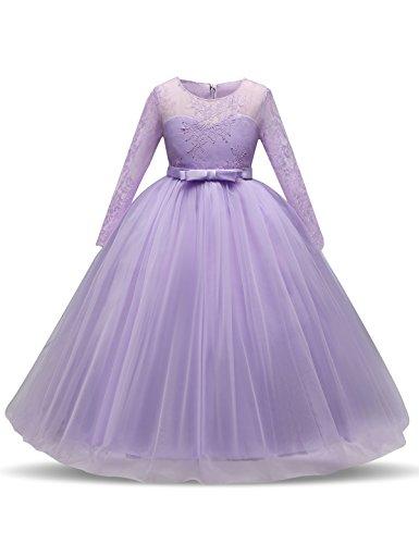 NNJXD Mädchen Spitze Tüll Bodenlangen Brautjungfer Tanz Ballkleid Kleid Größe(170) 13-14 Jahre...