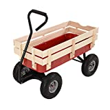 Britoniture Garden Wagon Pull Cart Pull Along Festival Trolley Kids Children Toys Games Truck Wood Railing Red Outdoor