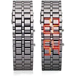 Red Light Silver Metal Strap Lava Style Digital LED Watch