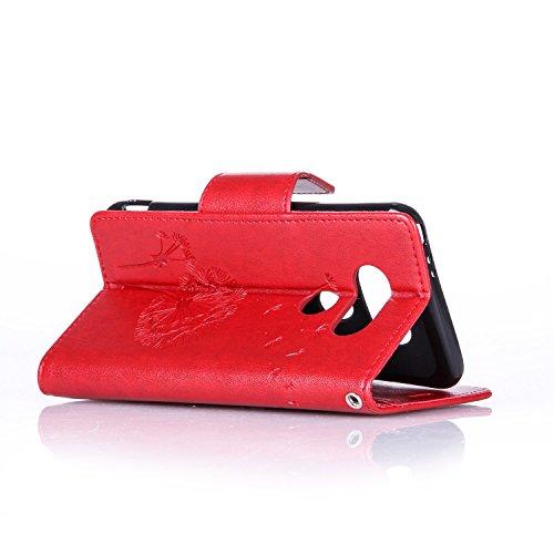 SainCat Coque Etui pour LG G5, LG G5 Coque Dragonne Portefeuille PU Cuir Etui, Coque de Protection en Cuir Folio Housse, SainCat PU Leather Case Wallet Flip Protective Cover Protector, Etui de Protect pissenlit diamant,Rouge